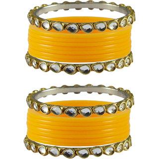 Vidhya kangan Crystal Yellow Color Bangles for Women-ban4052