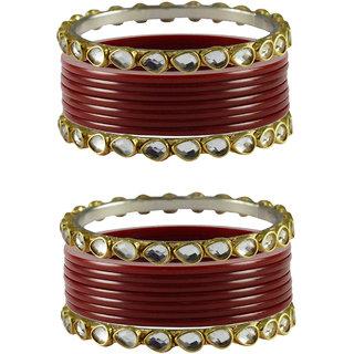 Vidhya kangan Crystal Maroon Color Bangles for Women-ban4053