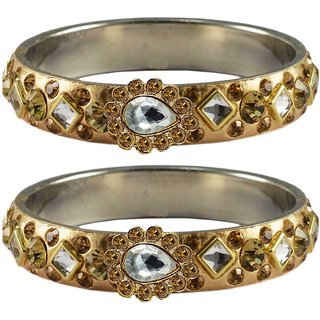 Vidhya kangan Crystal Gold Color Bangles for Women-ban4796