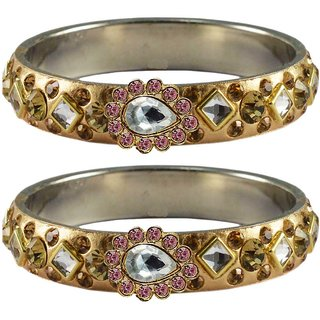 Vidhya kangan Crystal Gold Color Bangles for Women-ban4801