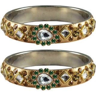 Vidhya kangan Crystal Gold Color Bangles for Women-ban4804