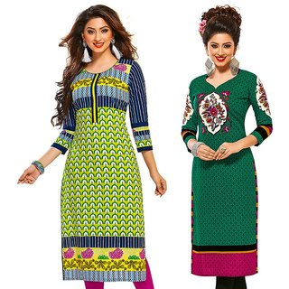 Jevi Prints - Combo of 2 Unstitched Printed Cotton Kurti Materials (Fabrics only for Top)