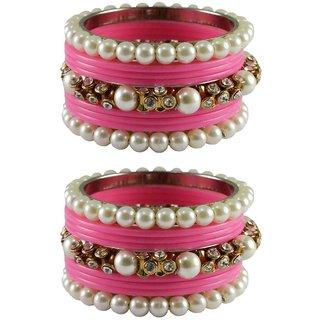 Vidhya kangan Crystal Pink Color Bangles for Women-ban4196