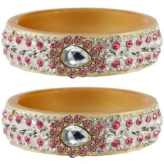 Vidhya kangan Crystal Cream Color Bangles for Women-ban4640