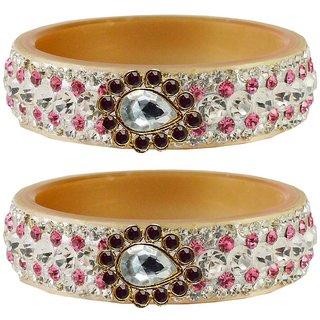 Vidhya kangan Crystal Cream Color Bangles for Women-ban4642