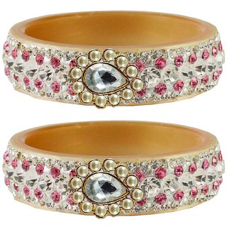 Vidhya kangan Crystal Cream Color Bangles for Women-ban4647