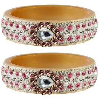 Vidhya kangan Crystal Cream Color Bangles for Women-ban4649
