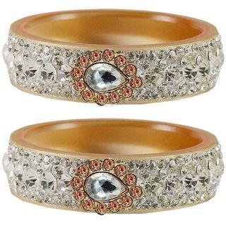 Vidhya kangan Crystal Cream Color Bangles for Women-ban4660