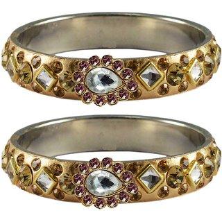 Vidhya kangan Crystal Gold Color Bangles for Women-ban4810