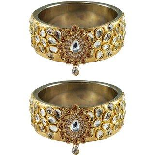 Vidhya kangan Crystal Gold Color Bangles for Women-ban4875