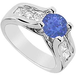 Princess Cut Diamond & Natural Sapphire Engagement Ring 2.25 Carat TGW