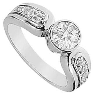 14K White Gold Semi Mount Engagement Ring With 0.40 Carat Diamonds (Option - 2)