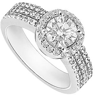 14K White Gold Semi Mount Engagement Ring With 0.50 Carat Diamonds (Option - 26)