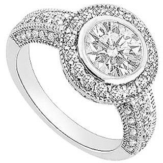 14K White Gold Semi Mount Engagement Ring With 0.60 Carat Diamonds (Option - 5)