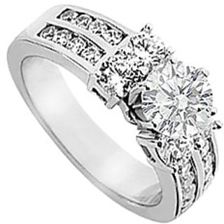 14K White Gold Semi Mount Engagement Ring With 1.25 Carat Diamonds