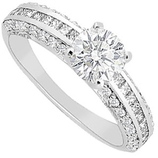 14K White Gold Semi Mount Engagement Ring With 0.75 Carat Diamonds (Option - 2)
