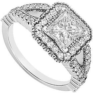 14K White Gold Semi Mount Engagement Ring With 0.50 Carat Diamonds (Option - 7)