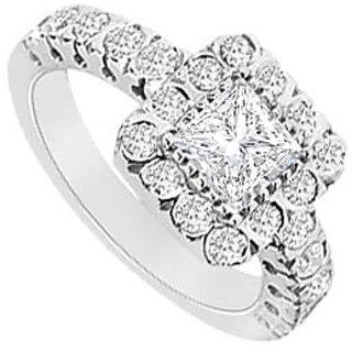 14K White Gold Semi Mount Engagement Ring With 0.75 Carat Diamonds