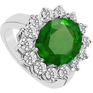 10K White Gold Frosted Emerald And Cubic Zirconia Ring With 5.75 Carats TGW
