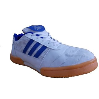 Port Men's  Raxon White Blue PU Badminton Shoes