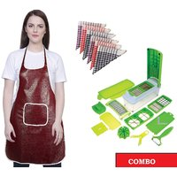 Combo -iLiv Kitchen Vegetable chopper, Apron  6 Kitchen Napkins