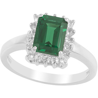Precious Emerald  Topaz studded 925 Sterling Silver Ring from Allure