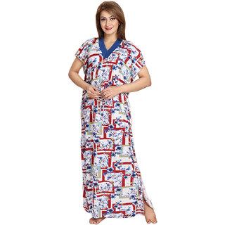 Be You Fashion Women Serena Satin Blue Printed Kaftan Nightgown