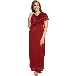 Be You Fashion Women Satin Maroon Ponchos style Nightgown
