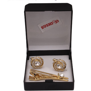 sushito Golden Gorgeous Cufflink With Tie Pin JSMFHMA0755N