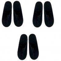 GiftOCraft Unisex Black Closed Toe Cotton Bedroom Slippers / Flip-Flops (Set Of 3)