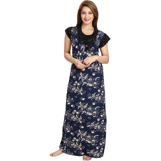 Be You Fashion Women Serena Satin Navy Blue Printed Lace Nightgown