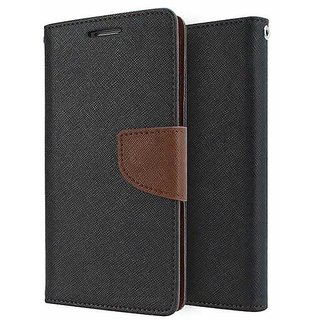 Mercury Wallet Flip case Cover For  Reliance Lyf WATER 1 (BROWN)