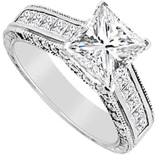 Engagement Ring Diamond Princess Cut In 14K White Gold 2.00 Carat Diamonds