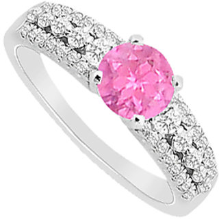 Engagement Ring In 14K White Gold With Diamond And Pink Sapphire 1.00 Carat TGW