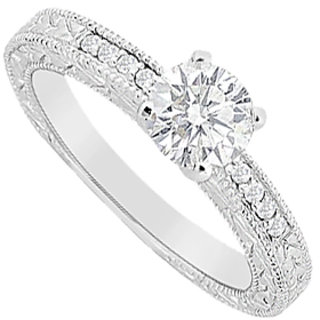 Diamond Round & Channel Set Engagement Ring In 14K White Gold 0.60 Carat Diamonds