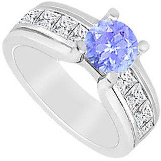 Tanzanite And Princess Cut CZ Engagement Ring In 14K White Gold 2.00 CT TGW