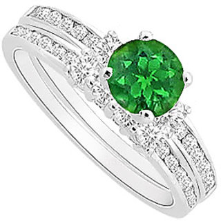 925 Sterling Silver Frosted Emerald Engagement Ring 1.00 CT TGW