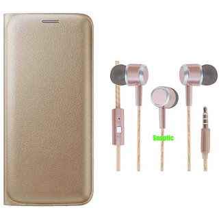 Snaptic Limited Edition Golden Leather Flip Cover for Reliance Jio LYF Flame 3 with Rose Gold Stereo Earphones with Mic