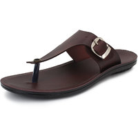 BUWCH  Brown Leather Slipper For Men