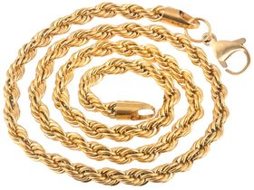 Men Style 5mm 14K YELLOW GOLD Rope Design Chain Necklaces (22 Inch Long)  Gold  Stainless Steel Rope Chain For Men And Boys