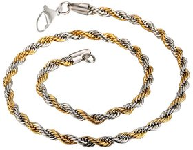 Men Style 5mm 14 k Dual Tone  Rope Design Chain Necklaces (22 Inch Long)  Silver and Gold  Stainless Steel Rope Chain For Men And Boys