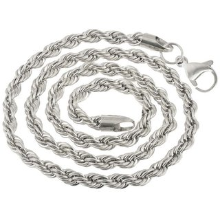 Men Style 5mm 14K White Silver  Rope Design Chain Necklaces (24 Inch Long)  Silver  Stainless Steel Rope  Chain For Men And Boys