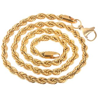 861dc83fd0b60 Men Style 5mm 14K YELLOW GOLD Rope Design Chain Necklaces (22 Inch Long)  Gold Stainless Steel Rope Chain For Men And Boys