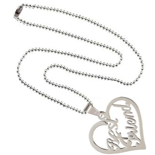 Men Style Best Friendship Letter Heart Charm Silver  Stainless Steel Necklace Pendant With Chain For Men And Women