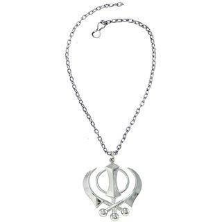 Men Style Sikkh Khanda Silver Stainless Steel Necklace Pendant For Men And Women