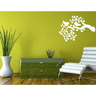 Bird on Tree White  wall Sticker