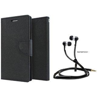 Microsoft Lumia 435 Mercury Wallet Flip case Cover (BLACK) With Zipper Earphone