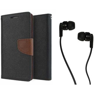 Microsoft Lumia 435 Mercury Wallet Flip case Cover (BROWN) With Champ Earphone(3.5mm jack)