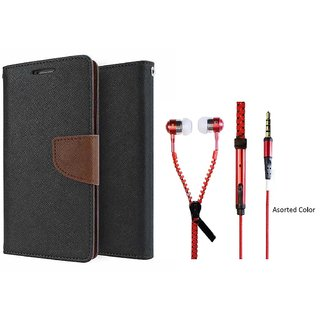 Micromax Canvas 4 A210  Mercury Wallet Flip case Cover (BROWN) With Zipper Earphone