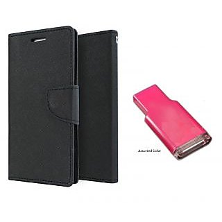 Lenovo A680 Mercury Wallet Flip case Cover (BLACK)  With MEMORY CARD READER(Assorted Color)